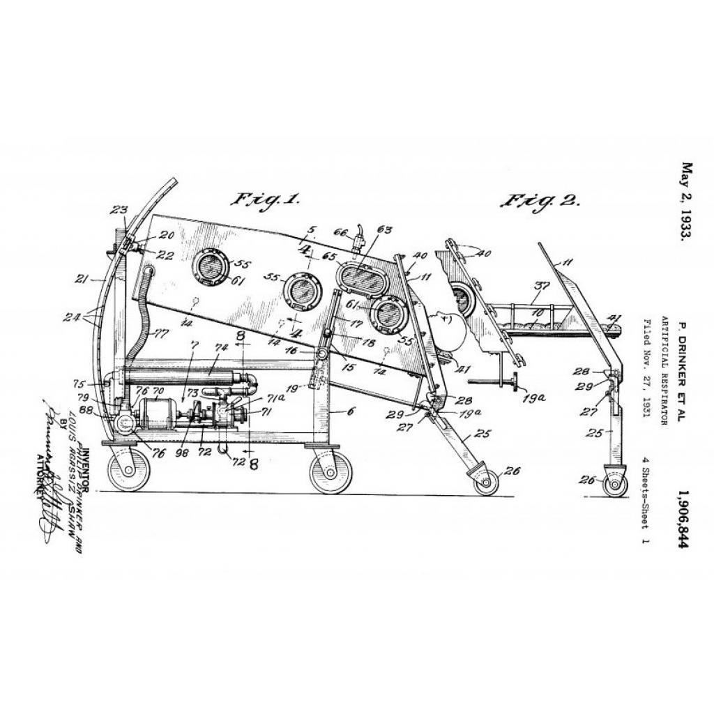 Şekil 1. Solunum cihazına ait Philip Drinker'ın patentinden bir diyagram.   US Patent no. 1906 844, 1933. USA Patent and Trade Office