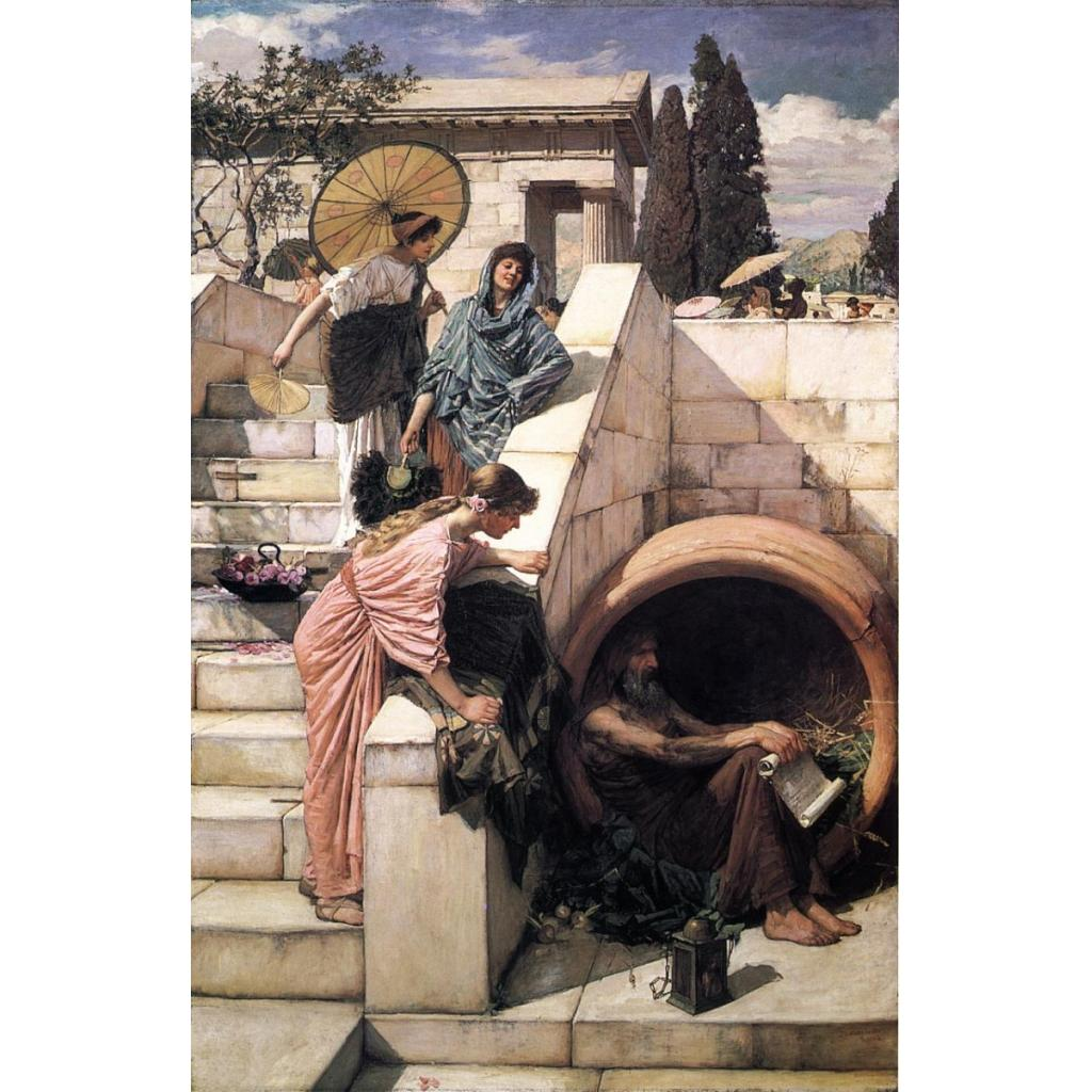 Diyojen'in yalnızlığı ve fıçısı resmedilmiştir.